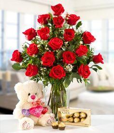 delicado florero de rosas ecuatorianas con peluche